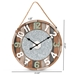 Baxton Studio Garrison Vintage Farmhouse Silver Metal and Multicolored Wood Wall Clock - Wood-WC 23.6 inch