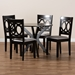 Baxton Studio Sanne Modern and Contemporary Grey Fabric Upholstered and Dark Brown Finished Wood 5-Piece Dining Set - Sanne-Grey/Dark Brown-5PC Dining Set