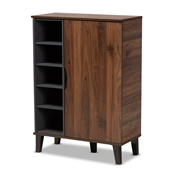 Baxton Studio Idina Mid-Century Modern Two-Tone Walnut Brown and Grey Finished Wood 1-Door Shoe Cabinet