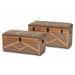 Baxton Studio Kala Modern and Contemporary Transitional Brown Fabric Upholstered and Walnut Finished Wood 2-Piece Storage Ottoman Trunk Set