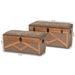 Baxton Studio Kala Modern and Contemporary Transitional Brown Fabric Upholstered and Walnut Finished Wood 2-Piece Storage Ottoman Trunk Set - JY19B381-2PC Trunk Set