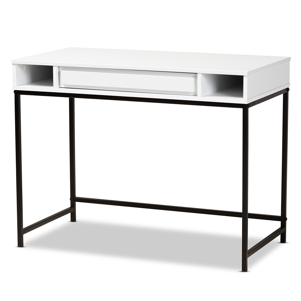 Baxton Studio Cargan Modern and Contemporary White Finished Wood and Black Metal 1-Drawer Desk