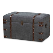 Baxton Studio Palma Modern and Contemporary Transitional Grey Fabric Upholstered Storage Trunk Ottoman