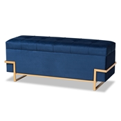 Baxton Studio Parker Glam and Luxe Navy Blue Velvet Upholstered and Gold Metal Finished Storage Ottoman