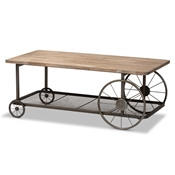 Baxton Studio Terence Vintage Rustic Industrial Natural Finished Wood and Black Finished Metal Wheeled Coffee Table