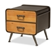Baxton Studio Kaiya Rustic and Industrial Oak Brown Finished Wood and Black Metal 2-Drawer Nightstand