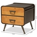 Baxton Studio Kaiya Rustic and Industrial Oak Brown Finished Wood and Black Metal 2-Drawer Nightstand - JY20A078-Oak/Black-NS