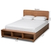 Baxton Studio Vita Modern Transitional Ash Walnut Brown Finished Wood 4-Drawer Queen Size Platform Storage Bed - Vita-Ash Walnut-Queen