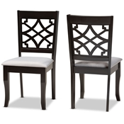 Baxton Studio Mael Modern and Contemporary Grey Fabric Upholstered and Dark Brown Finished Wood 2-Piece Dining Chair Set Baxton Studio restaurant furniture, hotel furniture, commercial furniture, wholesale dining room furniture, wholesale dining chairs, classic dining chairs