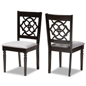 Baxton Studio Renaud Modern and Contemporary Grey Fabric Upholstered and Dark Brown Finished Wood 2-Piece Dining Chair Set Baxton Studio restaurant furniture, hotel furniture, commercial furniture, wholesale dining room furniture, wholesale dining chairs, classic dining chairs