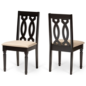 Baxton Studio Cherese Modern and Contemporary Sand Fabric Upholstered and Dark Brown Finished Wood 2-Piece Dining Chair Set Baxton Studio restaurant furniture, hotel furniture, commercial furniture, wholesale dining room furniture, wholesale dining chairs, classic dining chairs