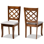 Baxton Studio Verner Modern and Contemporary Grey Fabric Upholstered Walnut Finished Wood 2-Piece Dining Chair Set Baxton Studio restaurant furniture, hotel furniture, commercial furniture, wholesale dining room furniture, wholesale dining chairs, classic dining chairs