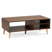 Baxton Studio Landen Mid-Century Modern Walnut Brown and Gold Finished Wood Coffee Table
