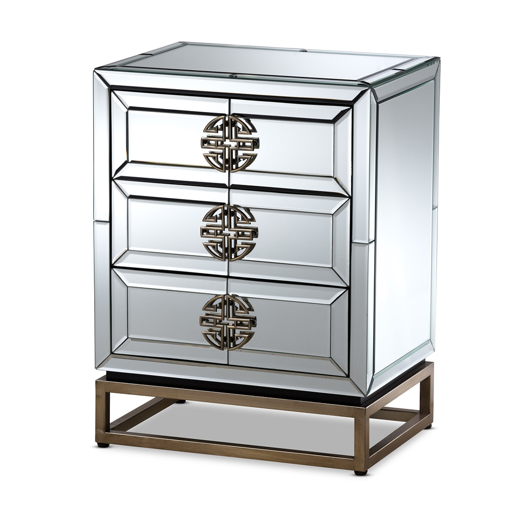 Baxton Studio Laken Contemporary Glam and Luxe Mirrored and Antique Bronze Finished 3-Drawer Nightstand