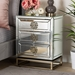 Baxton Studio Laken Contemporary Glam and Luxe Mirrored and Antique Bronze Finished 3-Drawer Nightstand - RXF-2222-NS