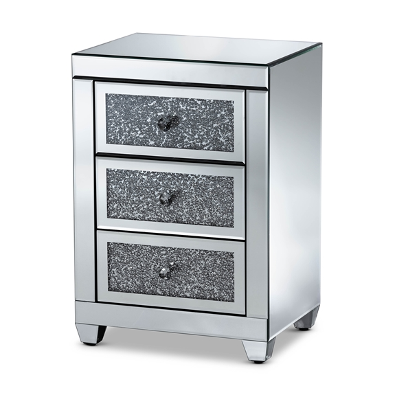 Baxton Studio Ralston Contemporary Glam and Luxe Mirrored 3-Drawer Nightstand