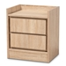 Baxton Studio Hale Modern and Contemporary Oak Finished Wood 2-Drawer Nightstand
