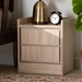 Baxton Studio Hale Modern and Contemporary Oak Finished Wood 2-Drawer Nightstand - ET8003-Oak-NS