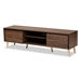 Baxton Studio Landen Mid-Century Modern Walnut Brown and Gold Finished Wood TV Stand
