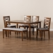 Baxton Studio Lanier Modern and Contemporary Grey Fabric Upholstered and Walnut Brown Finished Wood 6-Piece Dining Set - RH318C-Grey/Walnut-6PC Dining Set