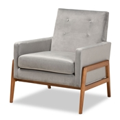 Baxton Studio Perris Mid-Century Modern Grey Velvet Fabric Upholstered and Walnut Brown Finished Wood Lounge Chair