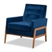 Baxton Studio Perris Mid-Century Modern Navy Blue Velvet Fabric Upholstered and Walnut Brown Finished Wood Lounge Chair