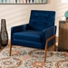 Baxton Studio Perris Mid-Century Modern Navy Blue Velvet Fabric Upholstered and Walnut Brown Finished Wood Lounge Chair - BBT8042-Navy Velvet/Walnut-CC