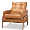 Baxton Studio Perris Mid-Century Modern Tan Faux Leather Upholstered and Walnut Brown Finished Wood Lounge Chair