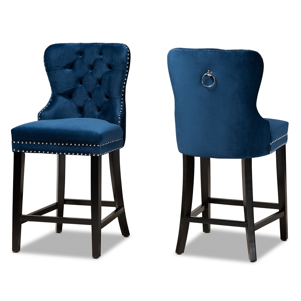 Baxton Studio Howell Modern Transitional Navy Blue Velvet Upholstered and Dark Brown Finished Wood 2-Piece Counter Stool Set