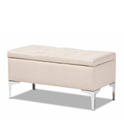 Baxton Studio Mabel Modern and Contemporary Transitional Beige Fabric Upholstered and Silver Finished Metal Storage Ottoman