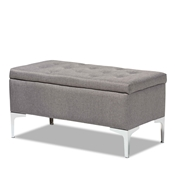 Baxton Studio Mabel Modern and Contemporary Transitional Grey Fabric Upholstered and Silver Finished Metal Storage Ottoman