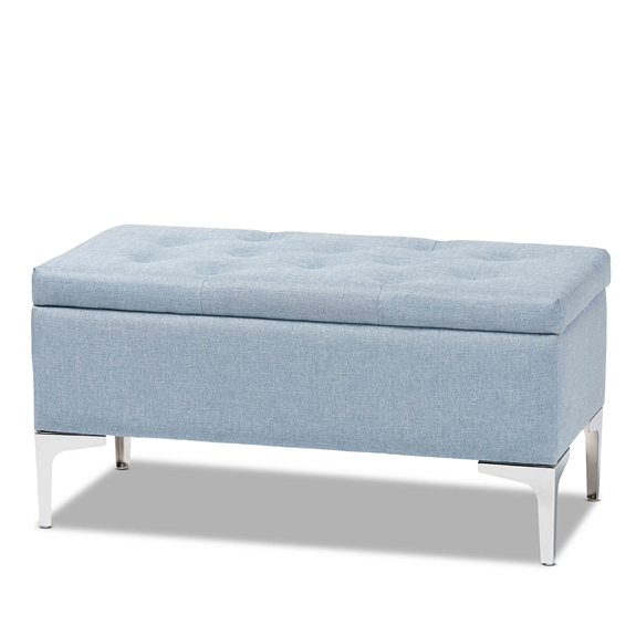 Baxton Studio Mabel Modern and Contemporary Transitional Light Blue Fabric Upholstered and Silver Finished Metal Storage Ottoman
