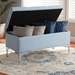 Baxton Studio Mabel Modern and Contemporary Transitional Light Blue Fabric Upholstered and Silver Finished Metal Storage Ottoman - WS-20093 -Light Blue/Silver-Otto