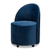 Baxton Studio Bethel Glam and Luxe Navy Blue Velvet Fabric Upholstered Rolling Accent Chair