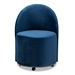 Baxton Studio Bethel Glam and Luxe Navy Blue Velvet Fabric Upholstered Rolling Accent Chair - WS-52226-Navy Blue Velvet-CC