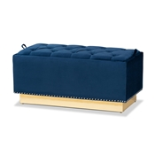 Baxton Studio Powell Glam and Luxe Navy Blue Velvet Fabric Upholstered and Gold PU Leather Storage Ottoman