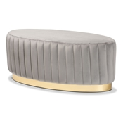 Baxton Studio Kirana Glam and Luxe Grey Velvet Fabric Upholstered and Gold PU Leather Ottoman