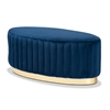 Baxton Studio Kirana Glam and Luxe Navy Blue Velvet Fabric Upholstered and Gold PU Leather Ottoman