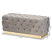 Baxton Studio Corrine Glam and Luxe Grey Velvet Fabric Upholstered and Gold PU Leather Ottoman - WS-4228-Grey Velvet/Gold-Otto