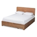Baxton Studio Eleni Modern and Contemporary Transitional Ash Walnut Brown Finished Wood Queen Size 3-Drawer Platform Storage Bed