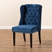 Baxton Studio Lamont Modern Contemporary Transitional Navy Blue Velvet Fabric Upholstered and Dark Brown Finished Wood Wingback Dining Chair - WS-W158-Navy Blue Velvet/Espresso-DC