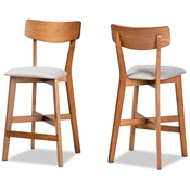 Baxton Studio Cameron Modern and Contemporary Transitional Grey Fabric Upholstered and Walnut Brown Finished Wood 2-Piece Counter Stool Set