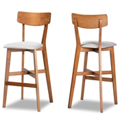 Baxton Studio Cameron Modern and Contemporary Transitional Grey Fabric Upholstered and Walnut Brown Finished Wood 2-Piece Bar Stool Set