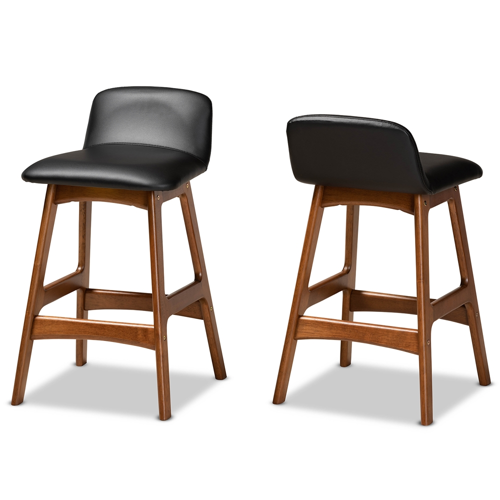 Baxton Studio Darrin Mid-Century Modern Black Faux Leather Upholstered and Walnut Brown Finished Wood 2-Piece Counter Stool Set