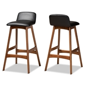 Baxton Studio Darrin Mid-Century Modern Black Faux Leather Upholstered and Walnut Brown Finished Wood 2-Piece Bar Stool Set