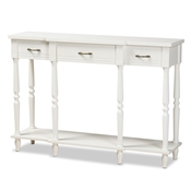 Baxton Studio Hallan Classic and Traditional French Provincial White Finished Wood 3-Drawer Console Table