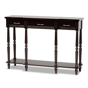 Baxton Studio Hallan Classic and Traditional French Provincial Dark Brown Finished Wood 3-Drawer Console Table