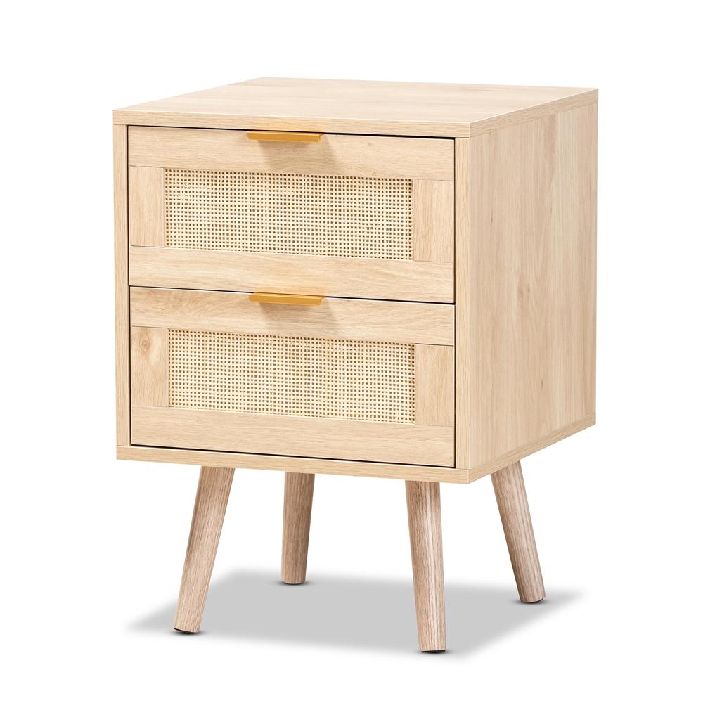 Baxton Studio Baird Mid-Century Modern Light Oak Brown Finished Wood and Rattan 2-Drawer Nightstand