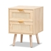 Baxton Studio Baird Mid-Century Modern Light Oak Brown Finished Wood and Rattan 2-Drawer Nightstand