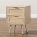 Baxton Studio Baird Mid-Century Modern Light Oak Brown Finished Wood and Rattan 2-Drawer Nightstand - SR196128-Rattan-NS